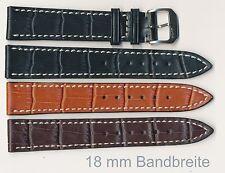 Echtes Leder-Uhrenband 18+19+20+22+24+24+XL mm, Alligator-Prägung flach