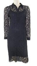 Marks & Spencer noir dentelle ajusté robe avec chemise col orig prix £ 49