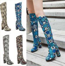 Women Knee High Boots Combat High Block Heel Riding Knight Snakeskin Print Shoes