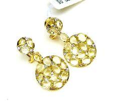 18K  SOLID YELLOW GOLD GENUINE DIAMOND & YELLOW QUARTZ DROP EARRINGS