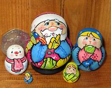 Russian Tiny Nesting Doll Christmas Santa Father Frost Snowman 5 Matryoshka