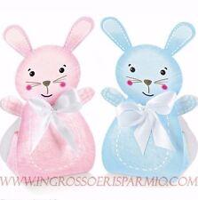 2PZ scatoline portaconfetti nascita/battesimo coniglietto rosa-celeste stock