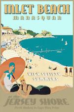 Inlet Beach Manasquan New Jersey Shore Retro Deco Poster Atlantic Ocean Print341