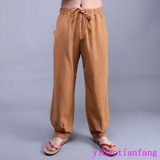 Vintage Fashion Men Linen Blend hemp Pants Pockets Hot Sale Trousers Size cotton
