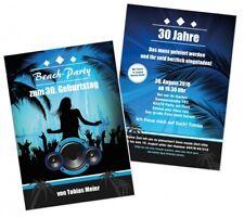 Coole Einladungskarte Beach Strand Poolparty Geburtstag, Wunschtext, jedes Alter