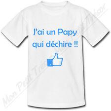 T-shirt Enfant J'ai un Papy qui déchire! 2 couleurs au choix - grand-père