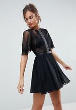 Branded Dobby Flutter Sleeve Mini Dress in Black (BX1)