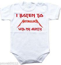 Baby bodysuit I LISTEN to METALLICA with AUNTY, kids One Piece jersey