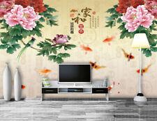 3D Pink Peony Fishs 7 Wall Paper Murals Wall Print Wall Wallpaper Mural Au Lemon