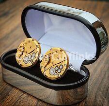 Boxed Watch Movement Cufflinks Steampunk Wedding Groom Mens Gift Present Gold