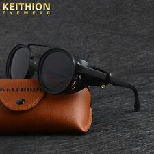 KEITHION Men Vintage Steampunk Sunglasses Fashion Round Retro Eyewear