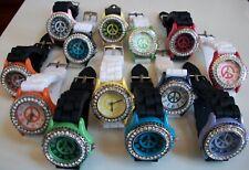 Fashion Peace Sign Jelly Silicone Rhinestone Girls,Women Colorful Wrist Watch