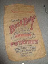 Vintage Best Bet ! Nutritious Potatoes Munkberg Farms Cambridge MINN Burlap sack