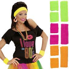 Neon Schweißbänder 80er Jahre Sport-Set Aerobic Stirnband Schweißband Kostüm