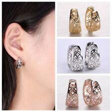 1Pair Jewelry Women Hoop Earring Silver Plated Ear Stud Carved Flower
