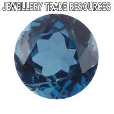 12 mm redondo Natural de Londres Topacio Azul Joya Piedra Preciosa