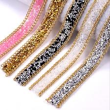 1 yards Applique Hot melt Adhesive Rhinestone Decorative lace DIY Wedding Dress