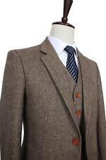Men's 3 Piec Brown Tweed Check Tan Tuxedos Groom Suit Custom Tailored UK 34-56