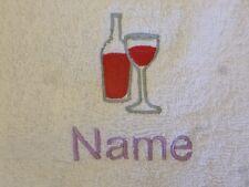 WEIN mit Glas und Namen Bestickt auf Handtücher Bademäntel Kapuzen Handtuch