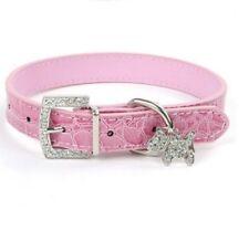 Cachorro Perro Collar bebé rosa falso cocodrilo & Diamante Perro encanto-a Estrenar, FREEPOST!