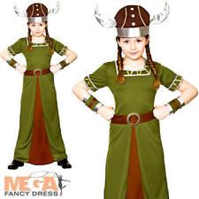 Viking Princess Girls Fancy Dress Saxon Medieval Warrior Childrens Kids Costume