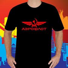 New Aeroflot Russian Airline Logo Men's Black T-Shirt Size S to 3XL