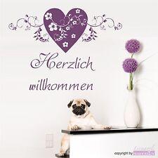 WANDTATTOO Herzlich willkommen Herz Ranke Blüten Blumen Wandsticker