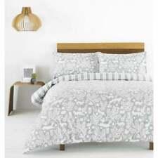 Riva paoletti Skandi grey woodland stag brushed cotton print duvet set