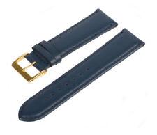 Lederarmband Uhrenarmband Blau Gold LLB-110 Glattleder Schließe Echtleder