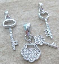 NEW 925 STERLING SILVER Petite Micro Setting Cz Heart Key & Chinese Lock Pendant