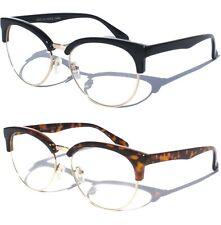 CAT EYE Half Frame Clear Lens Eye Glasses Retro Vintage Style Half Brow New