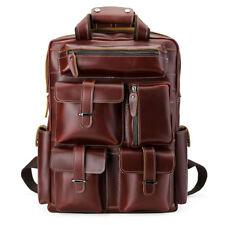 Leather Men's Laptop Backpack Travel Hiking Large Luggage Bag Knapsack Red Brown