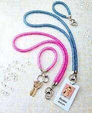 Jewel Filled Mesh Lanyard Badge Holder or Wristlet in Pink or Blue Silver Metal
