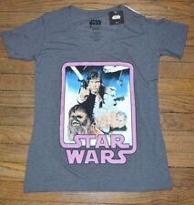 Star Wars Vintage Design V Neck Juniors Tee Officially Licensed T-Shirt Top GRAY