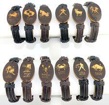 Oval Zodiac Sign Horoscope Astrology Synthetic Surfer Leather Bracelet Unisex