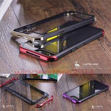 Double Color CNC Aluminum Metal Bumper Slim PC Hybrid Glass Case For iPhone OPPO