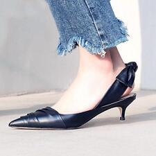 Womens Leather Pointy Toe Slip on Slingbacks Chic Kitten Heel Bowknot Lady Shoes