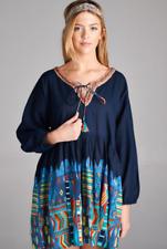 Cute Plus Size Print BoHo Gypsie Mini Dress Tunic ,2X,3X