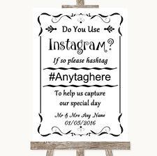Wedding Sign Poster Print Black & White Instagram Social Media Photo Sharing