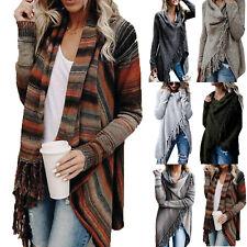 Women Lady Knitted Sweatershirt Irregular Tassel Cardigan Shawl Coat Jacket Tops