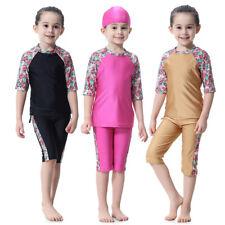 Muslim Kids Girls Full Cover Swimwear Swimsuit Islam Swimming Beach Bathing Suit