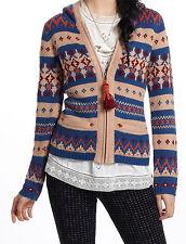 Sparrow Fairisle Hooded Sweater Cardigan Sz XS, S, M Blue NW ANTHROPOLOGIE Tag