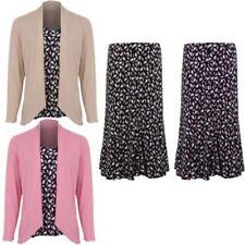 Mujer Estampado De Hojas forro campana Falda cascada chaqueta top manga larga