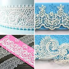 FLOWER Lace Stampo in Silicone Fondente Glassa Torta Nuziale Decorazione Stampo Sugarcraft