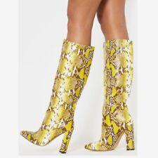 Women Snakeprint Knee High Boots Block High Heel Knight Boots Sexy Shoes Plus Sz