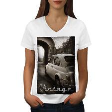 Wellcoda Car Retro Funky Vintage Womens V-Neck T-shirt, Retro Graphic Design Tee