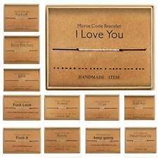 1PC I LOVE YOU Morse Code Bracelet Bead Cord Secret Message Best Lover Bracelet