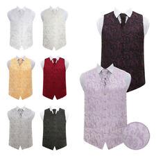 DQT New Jacquard Passion Floral Vest Wedding Men's Waistcoat, Cravat & Hanky