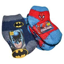 Batman and Spiderman Boys Ankle Socks, Fuzzy (6 pairs)