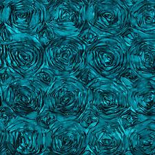 "10 Dark Teal 54""x54"" Rosette Rose Satin Table Overlays Tablecloths Event Wedding"